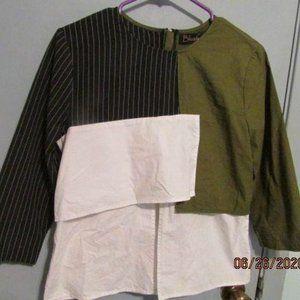 Blush Color Block Top Cotton Fabric size  L